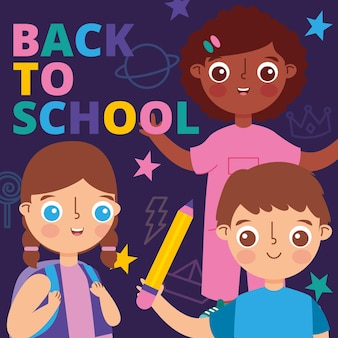 Back to school banner with children and stars. vector illustration