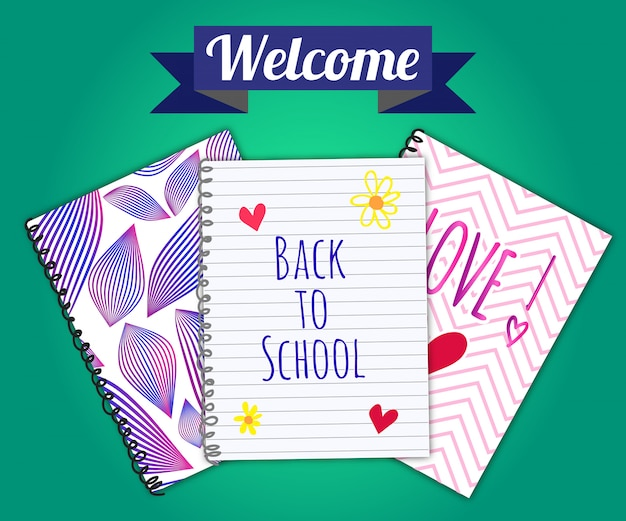 Back to school banner with colorful notebooks design