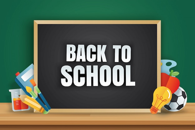 Back to school banner with education items on chalkboard