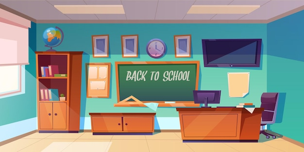 Back to school banner with empty classroom