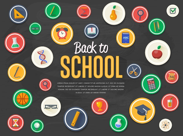Back to school banner with flat  icons