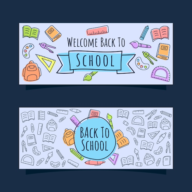 Back to school banner with line icons doodle style