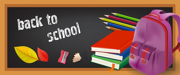 Back to school banner with pencils