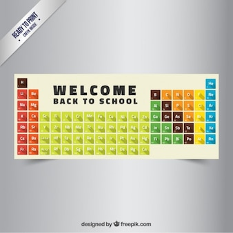 Back to school banner with periodic table