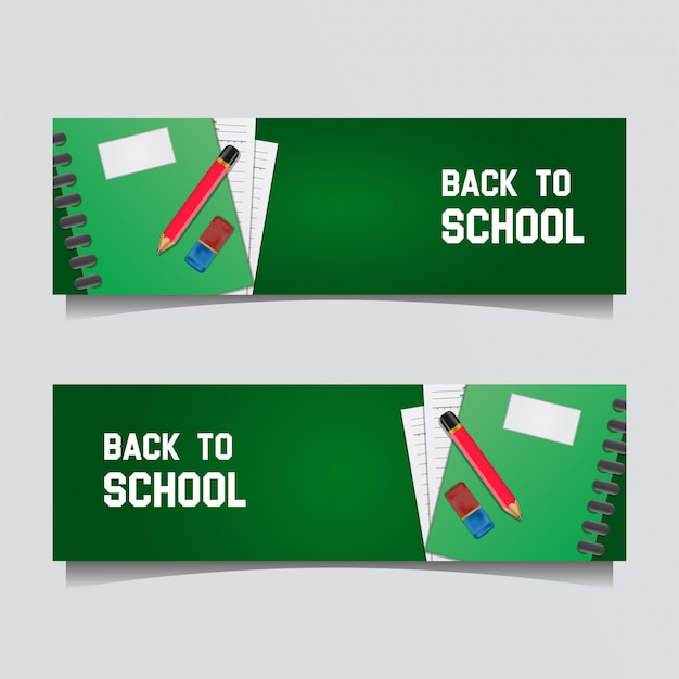 Back to school banner with realistic notebook and pencil