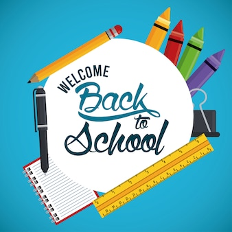 Back to school banner with rule and supplies
