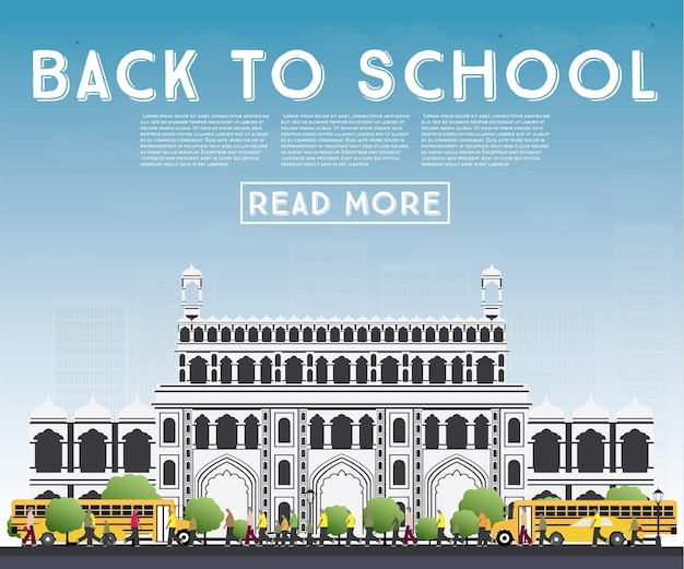 Back to school. banner with school bus, building and students. vector illustration.