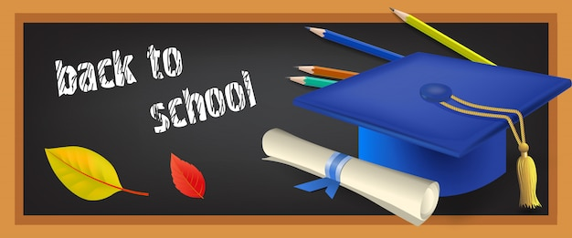 Back to school banner with scroll