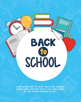 Back to school banner with set supplies education