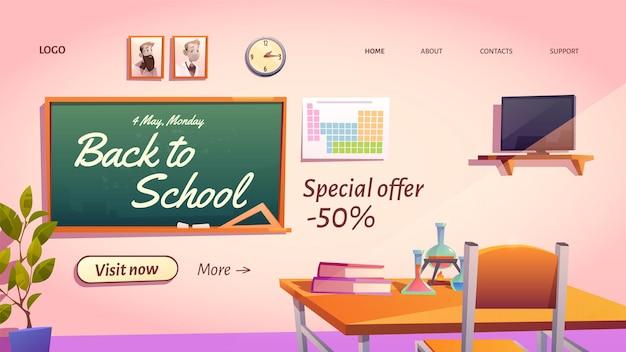 Banner di ritorno a scuola con offerta di vendita promozionale speciale.