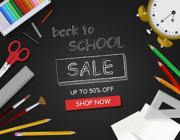 Back to school banner with stationery, chalkboard, school items and elements