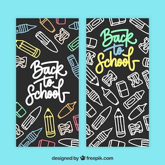 Back to school banners in chalk style