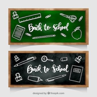 Back to school banners in chalkboard style