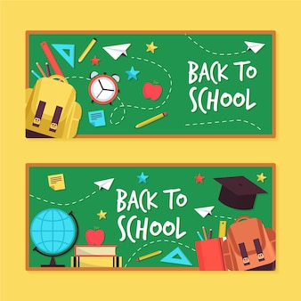 Back to school banners flat design