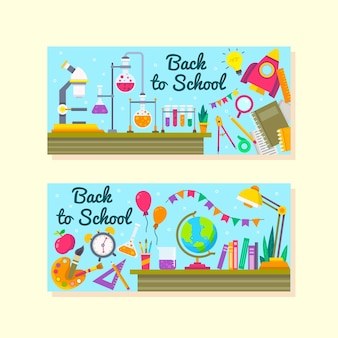 Back to school banners in flat design