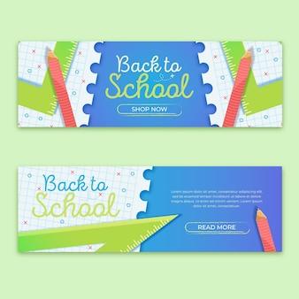 Torna a scuola banner design piatto