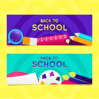Back to school banners in gradient style