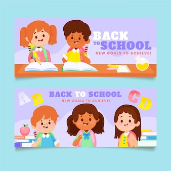 Back to school banners set with photo