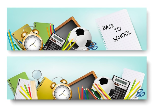 Back to school banners. vector