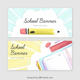 Back to school banners in watercolor style