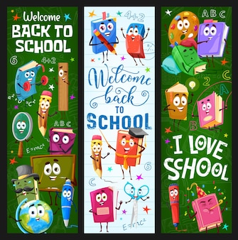 Back to school banners with cartoon books and stationery characters. children school education, kids lessons vector vertical banners with happy pen, pencil and eraser, scissors, paint and textbook