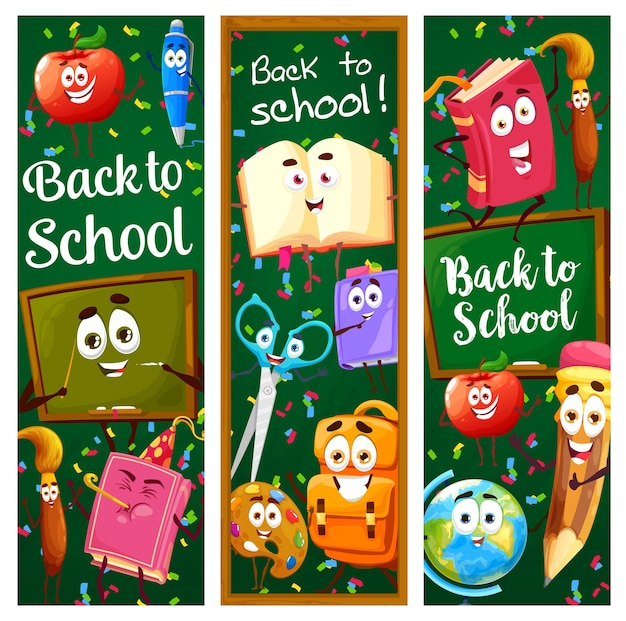 Back to school banners with cartoon education characters and blackboard background. vector vertical cards with funny learning stuff personages backpack, book, pencil, paintbrush on green chalkboard