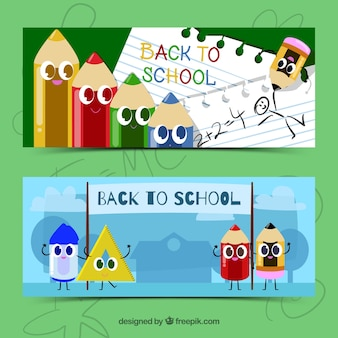 Back to school banners with cartoons