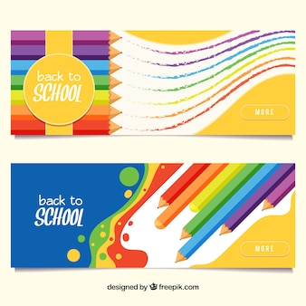 Back to school banners with color pencils