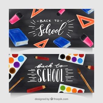 Torna a scuola banner con elementi