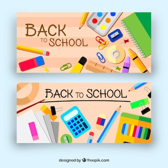 Back to school banners with flat design