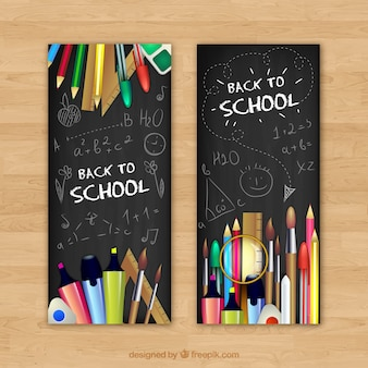 Back to school banners with pencils and pens