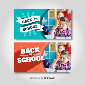 Back to school banners with photo
