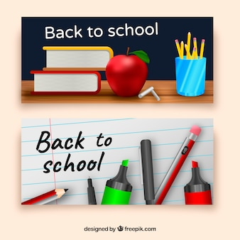 Back to school banners with realistic style
