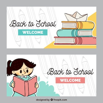 Back to school banners with student