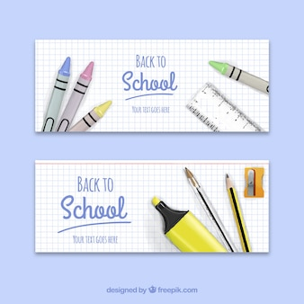Back to school banners with waxes and other realistic elements