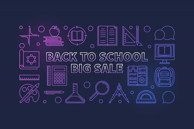 Back to school big sale colorful linear icon illustration