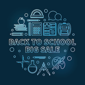 Back to school big sale vector blue round thin line illustration
