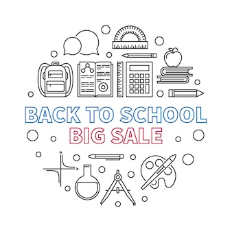 Back to school big sale vector round outline illustration