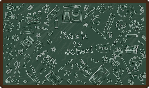 Back to school big vector doodle set handdrawn school supplies flat icons cartoon illustrations
