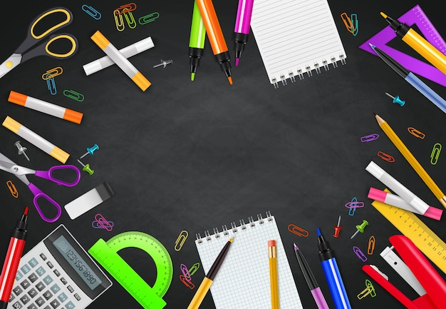 Back to school black chalk board background with different stationary objects realistic