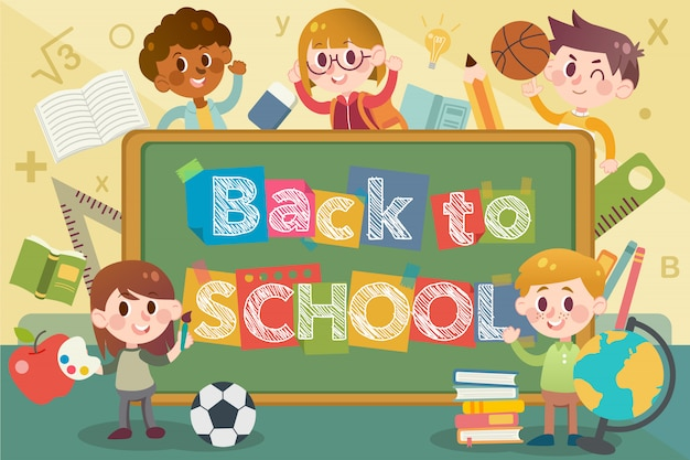 Back to school and blackboard illustration