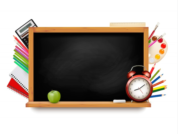 Back to school. blackboard with school supplies.