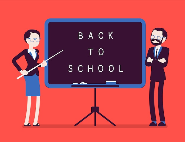 Back to school board. unhappy male and female teachers standing at the board, celebrating new year at school, welcoming students to start studying.  illustration with faceless characters