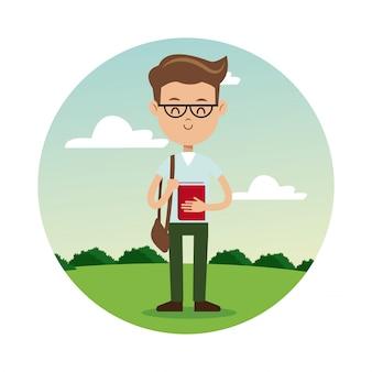 Back school boy glasses book student landscape background