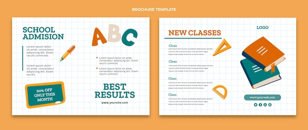Modello di brochure di ritorno a scuola