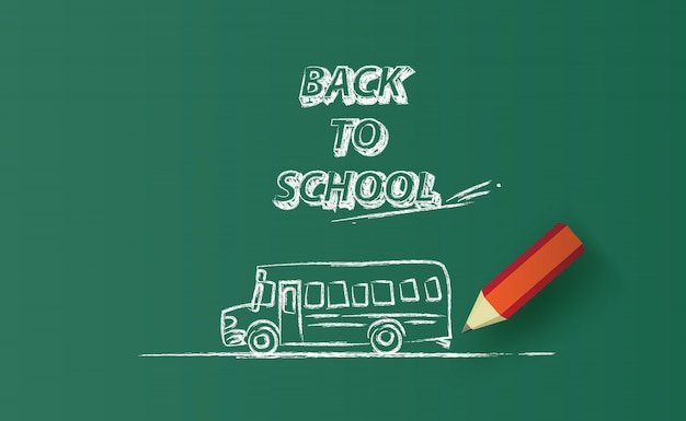 Back to school bus horizontal banner drawing on chalkboard.