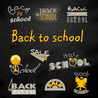 Back to school calligraphic designs label set sale clearance vector set
