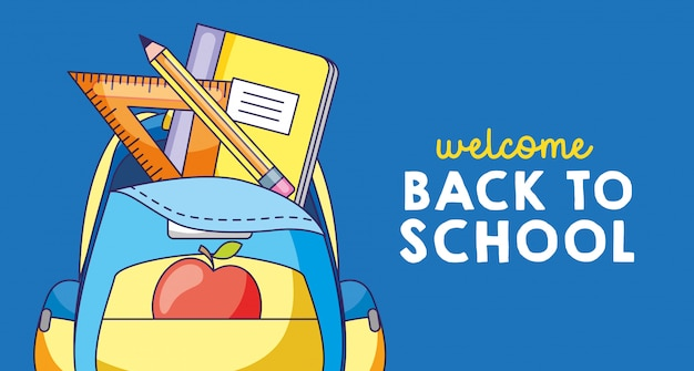 Back to school card banner with cartoons