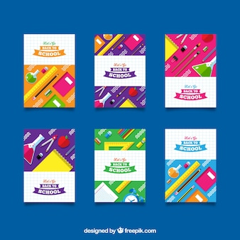Back to school card collection with flat design