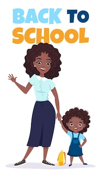 Back to school card or phone banner with cute schoolchild editable template for social media